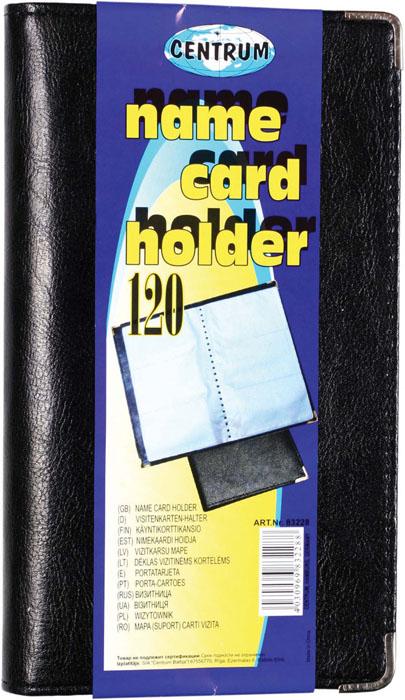 Визитница Centrum, на 120 визиток, цвет: черный. 8322883228Визитница Centrum станет великолепным подарком для любого современного делового человека, ценящего стиль и качество.Мягкая обложка визитницы покрыта высококачественной искусственной кожей. Внутри располагается трехрядный пластиковый блок на 120 визиток. Углы защищены металлическими накладками, что обеспечивает сохранность опрятного внешнего вида визитницы, и защищает уголки от загибания.Благодаря своему дизайну, визитница прекрасно впишется в интерьер любого офиса или дома. Она надежно сохранит ваши карты и сбережет их от повреждений, пыли и влаги.