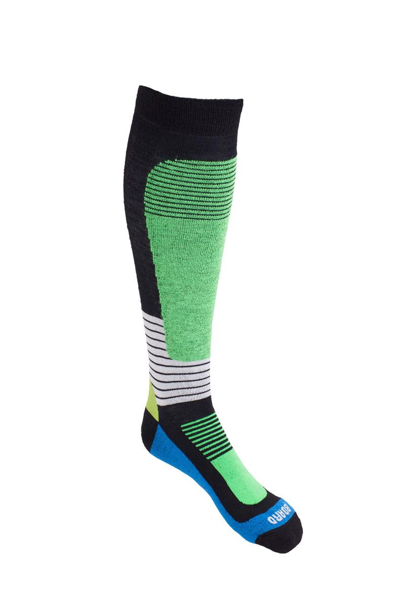 Носки для сноуборда MICO, цвет: черный, зеленый. 0140. Размер S (35/37)140_007Носки MICO для сноуборда имеют двойную структуру: внутренний слой состоит из высококачественной шерсти. - Волокна полиамида дают добавляют носку прочности и эластичности.- Лайкра повышает эластичность носка и сохраняет форму. - Дополнительная защита голени и икроножной мышцы.- Мягкая резинка по верху носка не сжимает ногу и не дает ощущения сдавливания даже при длительном использовании.- Специальное плетение в области стопы фиксирует ногу при занятиях спортом и ходьбе и не дает скользить стопе вперед.Итальянская компания MICO один из ведущих производителей носков и термобелья на Европейском рынке для занятий различными видами спорта. Носки предназначены для для занятий различными видами спорта, в том числе для носки в городе в очень холодную погоду.
