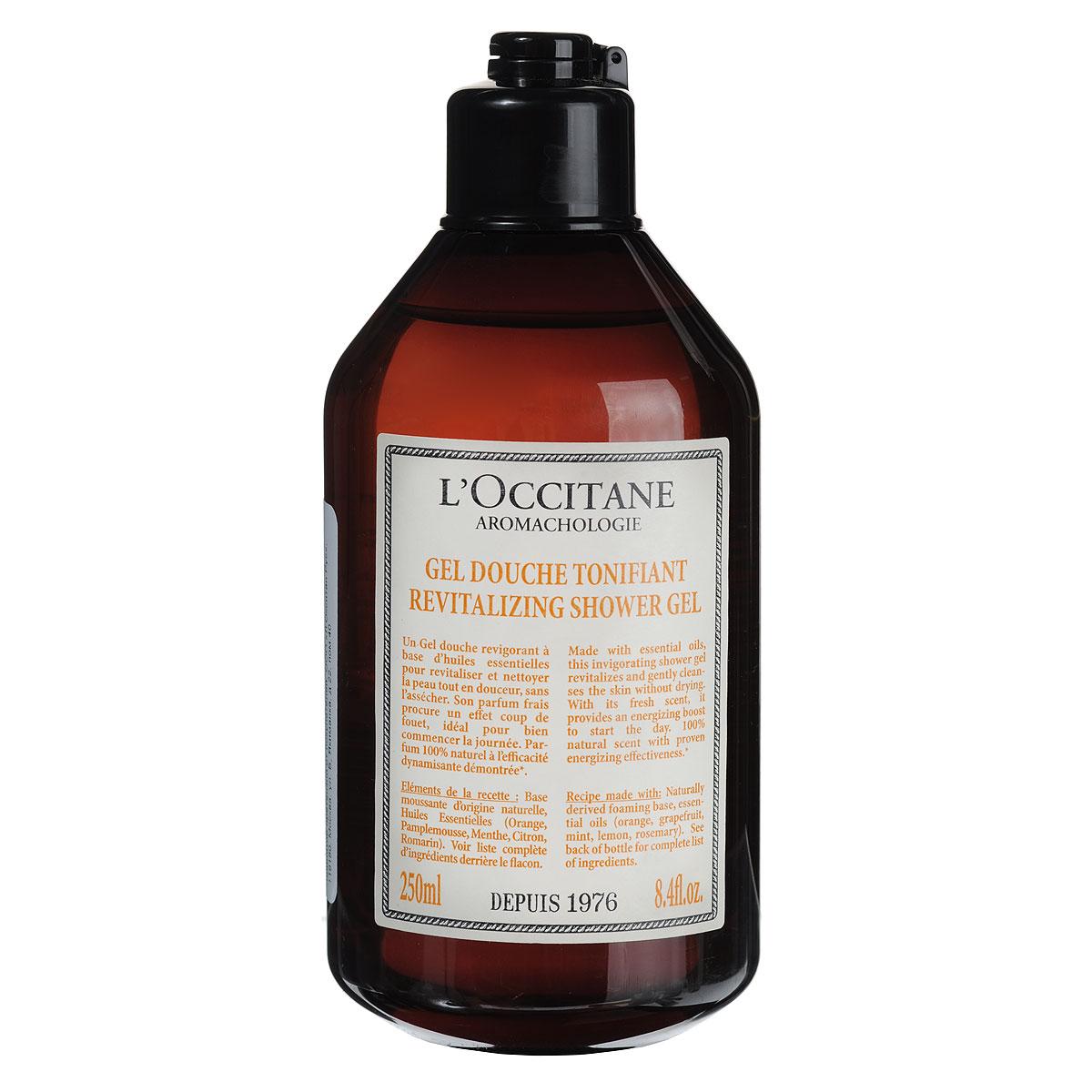 LOccitane Гель для душа Аромакология, тонизирующий, 250 мл350331Бодрящий гель для душа с эфирными маслами заряжает энергией на целый день. 95 % натуральных компонентов — пенообразующая основа без сульфатов. Натуральный аромат с доказанным тонизирующим эффектом. Товар сертифицирован.