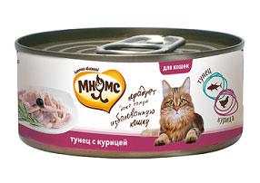 Консервы для кошек Мнямс, с тунцом и курицей, 70 г купить болгарские консервы в москве