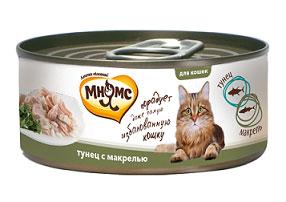 Консервы для кошек Мнямс, с тунцом и макрелью, 70 г консервы для кошек petreet natura с кусочками розового тунца и морковью 70 г 6 шт