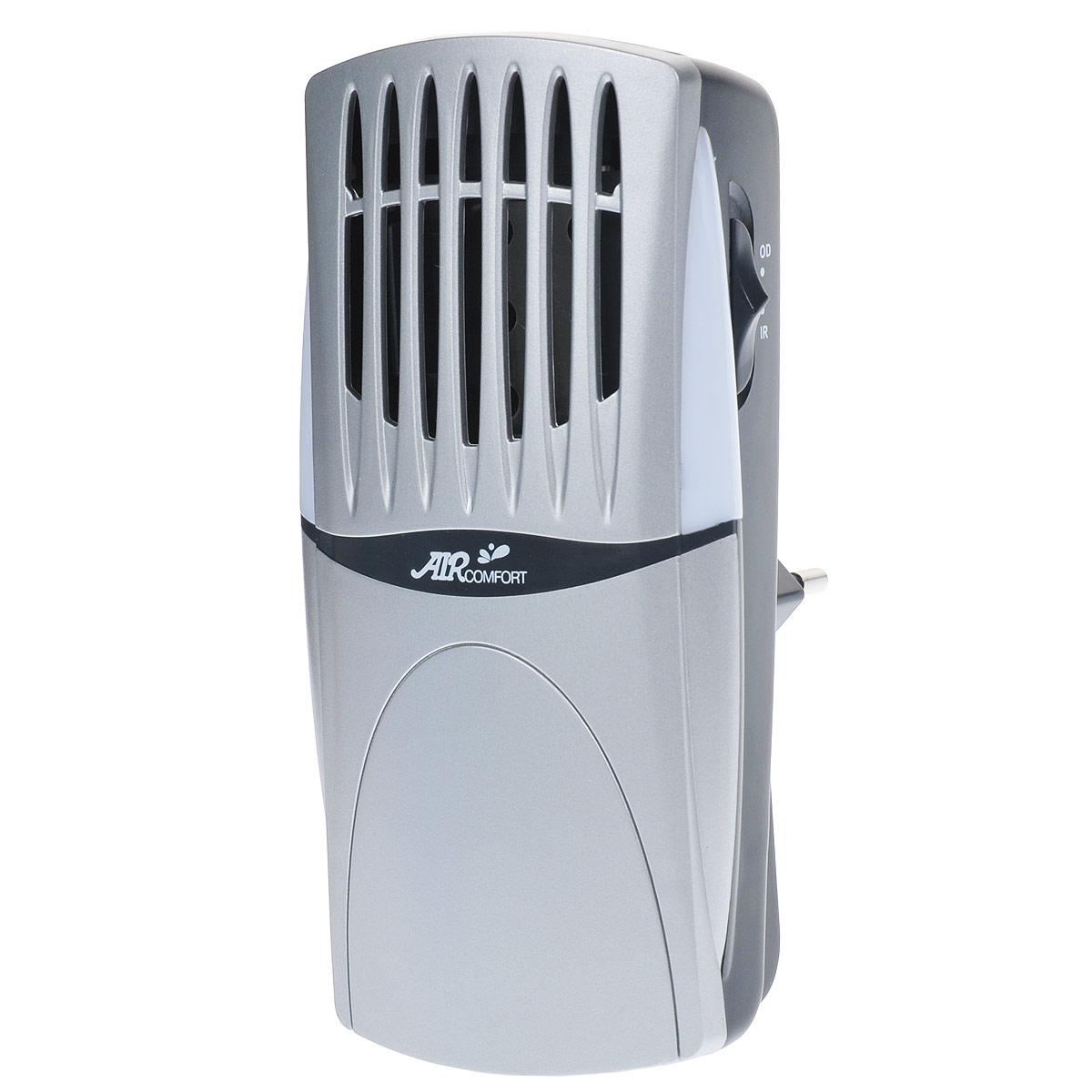 AirComfort GH-2160S воздухоочиститель00000000081AirComfort GH-2160S - идеальный освежитель воздуха и нейтрализатор запахов для ванных комнат, спален, гостиных, кладовых, стенных шкафов, лестничных клеток и других помещений небольшого размера. Электростатическая решетка задерживает самые мельчайшие загрязняющие частицы, содержащиеся в воздухе. Прибор имеет два режима работы: IR отрицательные ионы, OD активный кислород. Циркуляция чистого воздуха с запахом свежести обеспечивается электронным способом без движущихся деталей и шума. Чистый воздух несет с собой устойчивый поток очищающего озона, нейтрализующего запахи в самом начале их возникновения. Встроенный светодиод можно использовать в качестве ночного освещения. А беспроводной штепсель позволяет установить очиститель непосредственно в розетку.Образование отрицательных ионов: >=1х103/см3Концентрация активного кислорода: < 0,05 ppm мг/м3