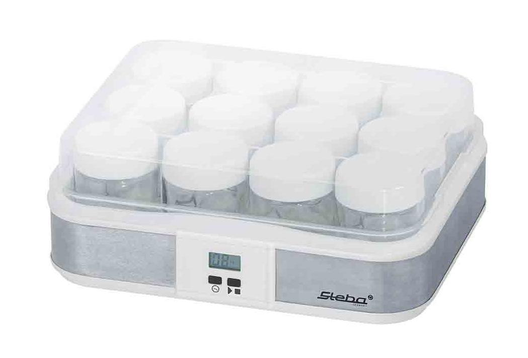 Steba JM2 йогуртницаJM 2Свежий йогурт - это так просто сделать первый шаг к здоровью! Приготовленный дома йогурт способствует поддержанию иммунитета, улучшает пищеварение и пополняет организм питательными микроэлементами. Если вы обладаете йогуртницей Steba JM 2, то вам не придется покупать непонятный йогуртовый продукт в магазине и переплачивать за него, а взять и приготовить его у себя дома. Размеры устройства 125 x 310 x 250 мм позволяют ему не занимать много места. Простота и удобство Устройство обладает мощностью 21 Вт, а подключение производиться к обычной сети электропитания. Вы сможете за один раз приготовить достаточно много йогурта, так как общий объем контейнеров составляет 2,4 литра, то есть 12 баночек по 200 грамм. Порционные емкости очень удобны и накрываются крышечками. Устройство обладает электронным управлением и имеет ЖК-дисплей. Функция таймера позволит вам выставить время приготовления в зависимости от продукта. Процесс приготовления Для приготовления вам потребуется молоко и натуральный йогурт или йогуртовая культура (фермент). Молоко нужно нагреть до 45°С и смешайте с культурой или йогуртом, после чего разлить в 12 баночек и накрыть крышками. Поставить в устройство на созревание.