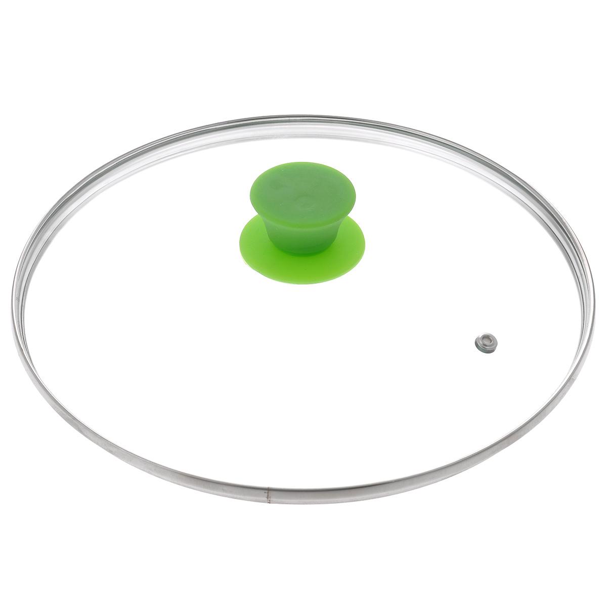 Крышка стеклянная Jarko Silk, цвет: зеленый. Диаметр 26 смКС*GTL26110 SilkКрышка Jarko Silk, изготовленная из термостойкого стекла, позволяет контролировать процесс приготовления пищи без потери тепла. Ободок из нержавеющей стали предотвращает сколы на стекле. Крышка оснащена пароотводом. Эргономичная силиконовая ручка не скользит в руках и не нагревается в процессе приготовления пищи.