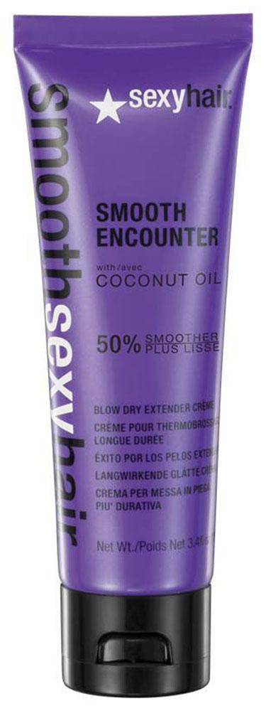 Sexy Hair Крем для волос Smooth Encounter, разглаживающий, 100 млSM-38SE03Содержит витамины Е и К из кокосового масла. Не утяжеляет волосы. Укрощает пушащиеся, непослушные, вьющиеся и мультитекстурные волосы. Не содержит солей, может использоваться на волосах после кератинового или химического выпрямления, так же подходит для наращённых волос. Усовершенствованная формула быстро впитывается, закрывает слои кутикулы, обеспечивая контроль, управляемость и оптимальное скольжение. Защищает от термического воздействия. Помогает сократить время сушки и позволяет укладке держаться дольше. Товар сертифицирован.