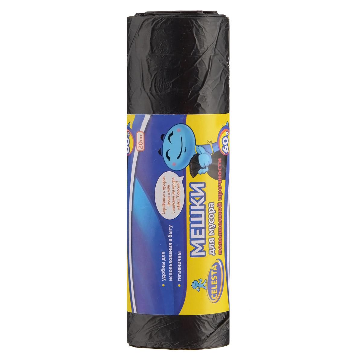 Мешки для мусора Celesta, цвет: черный, 60 л, 20 шт825435Мешки для мусора Celesta применяются для хранения и транспортировки бытовых мусорных и продуктовых отходов. Суперпрочные и гигиеничные. Удобны для использования в быту. Мешки быстро и просто отрываются по линии перфорации. Материал: полиэтилен. Объем: 60 л. Количество мешков: 20 шт.