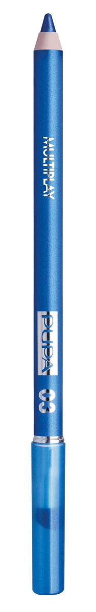 PUPA Карандаш для век с аппликатором Multiplay Eye Pencil, тон 03 небесно-синий , 1.2 г244003Pupa Multiplay - карандаш для глаз 3 в 1. Сочетает в себе эффект карандаша для глаз для интенсивного цвета, эффект подводки и эффект теней для век. В состав карандаша входит масло жожоба, витамин Е и масло семени хлопчатника для защитного и успокоительного эффекта.Исключительная кремообразная текстура и латексный аппликатор обеспечивают легкое и безупречное нанесение. Характеристики:Вес: 1,2 г. Тон: №03. Производитель: Италия. Артикул: 244003. Товар сертифицирован. Pupa - итальянский бренд, принадлежащий компании Micys. Компания была основана в 1970-х годах в Милане и стала любимым детищем семьи Гатти.Pupa - это декоративная косметика для тех, кто готов экспериментировать, создавать новые образы и менять свой стиль в поисках новых проявлений своей индивидуальности. Яркие цвета Pupa воплощают в себе особенное видение красоты как многогранного сочетания чувственности и эпатажа, нежности и дерзости, изысканности и простоты.Pupa не забывает и о здоровье, прежде всего - здоровье кожи. Составы косметики Pupa тщательно тестируются на безопасность для кожи и постоянно совершенствуются по мере появления новых научных разработок.