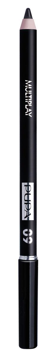 PUPA Карандаш для век с аппликатором Multiplay Eye Pencil, тон 09 черный , 1.2 г244009Pupa Multiplay - карандаш для глаз 3 в 1. Сочетает в себе эффект карандаша для глаз для интенсивного цвета, эффект подводки и эффект теней для век. В состав карандаша входит масло жожоба, витамин Е и масло семени хлопчатника для защитного и успокоительного эффекта.Исключительная кремообразная текстура и латексный аппликатор обеспечивают легкое и безупречное нанесение. Характеристики:Вес: 1,2 г. Тон: №09 (насыщенно-черный). Производитель: Италия. Артикул: 244009. Товар сертифицирован. Pupa - итальянский бренд, принадлежащий компании Micys. Компания была основана в 1970-х годах в Милане и стала любимым детищем семьи Гатти.Pupa - это декоративная косметика для тех, кто готов экспериментировать, создавать новые образы и менять свой стиль в поисках новых проявлений своей индивидуальности. Яркие цвета Pupa воплощают в себе особенное видение красоты как многогранного сочетания чувственности и эпатажа, нежности и дерзости, изысканности и простоты.Pupa не забывает и о здоровье, прежде всего - здоровье кожи. Составы косметики Pupa тщательно тестируются на безопасность для кожи и постоянно совершенствуются по мере появления новых научных разработок.