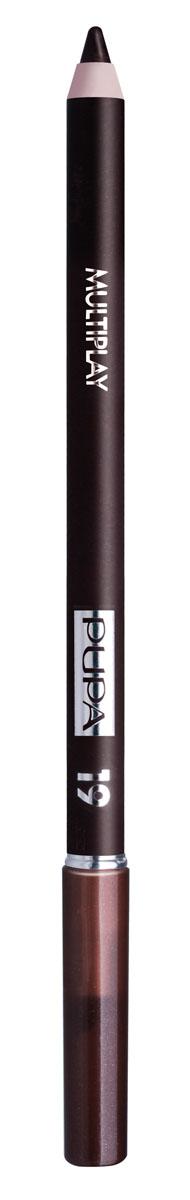 PUPA Карандаш для век с аппликатором Multiplay Eye Pencil, тон 19 тёмно-земляной , 1.2 г244019Pupa Multiplay - карандаш для глаз 3 в 1. Сочетает в себе эффект карандаша для глаз для интенсивного цвета, эффект подводки и эффект теней для век. В состав карандаша входит масло жожоба, витамин Е и масло семени хлопчатника для защитного и успокоительного эффекта.Исключительная кремообразная текстура и латексный аппликатор обеспечивают легкое и безупречное нанесение. Характеристики:Вес: 1,2 г. Тон: №19. Производитель: Италия. Артикул: 244019. Товар сертифицирован. Pupa - итальянский бренд, принадлежащий компании Micys. Компания была основана в 1970-х годах в Милане и стала любимым детищем семьи Гатти.Pupa - это декоративная косметика для тех, кто готов экспериментировать, создавать новые образы и менять свой стиль в поисках новых проявлений своей индивидуальности. Яркие цвета Pupa воплощают в себе особенное видение красоты как многогранного сочетания чувственности и эпатажа, нежности и дерзости, изысканности и простоты.Pupa не забывает и о здоровье, прежде всего - здоровье кожи. Составы косметики Pupa тщательно тестируются на безопасность для кожи и постоянно совершенствуются по мере появления новых научных разработок.
