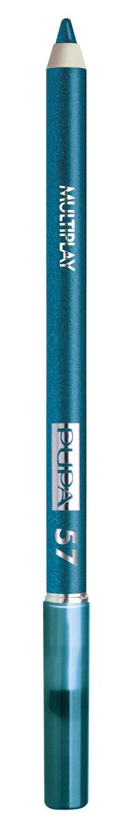 PUPA Карандаш для век с аппликатором Multiplay Eye Pencil тон №57 Бензиновый синий, 1.2 г244057Контурный карандаш для глаз Multiplay тройного действия с аппликатором для растушёвки подчёркивает взгляд с помощью интенсивного и однородного цвета, которой обладает безупречной стойкостью. Мягкая и очень пластичная текстура обеспечивает лёгкое и быстрое нанесение.