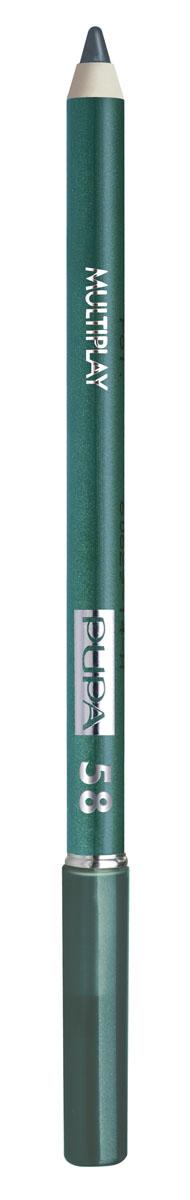 PUPA Карандаш для век с аппликатором Multiplay Eye Pencil тон №58 пластичный зеленый, 1.2 г244058Контурный карандаш для глаз Multiplay тройного действия с аппликатором для растушёвки подчёркивает взгляд с помощью интенсивного и однородного цвета, которой обладает безупречной стойкостью. Мягкая и очень пластичная текстура обеспечивает лёгкое и быстрое нанесение.