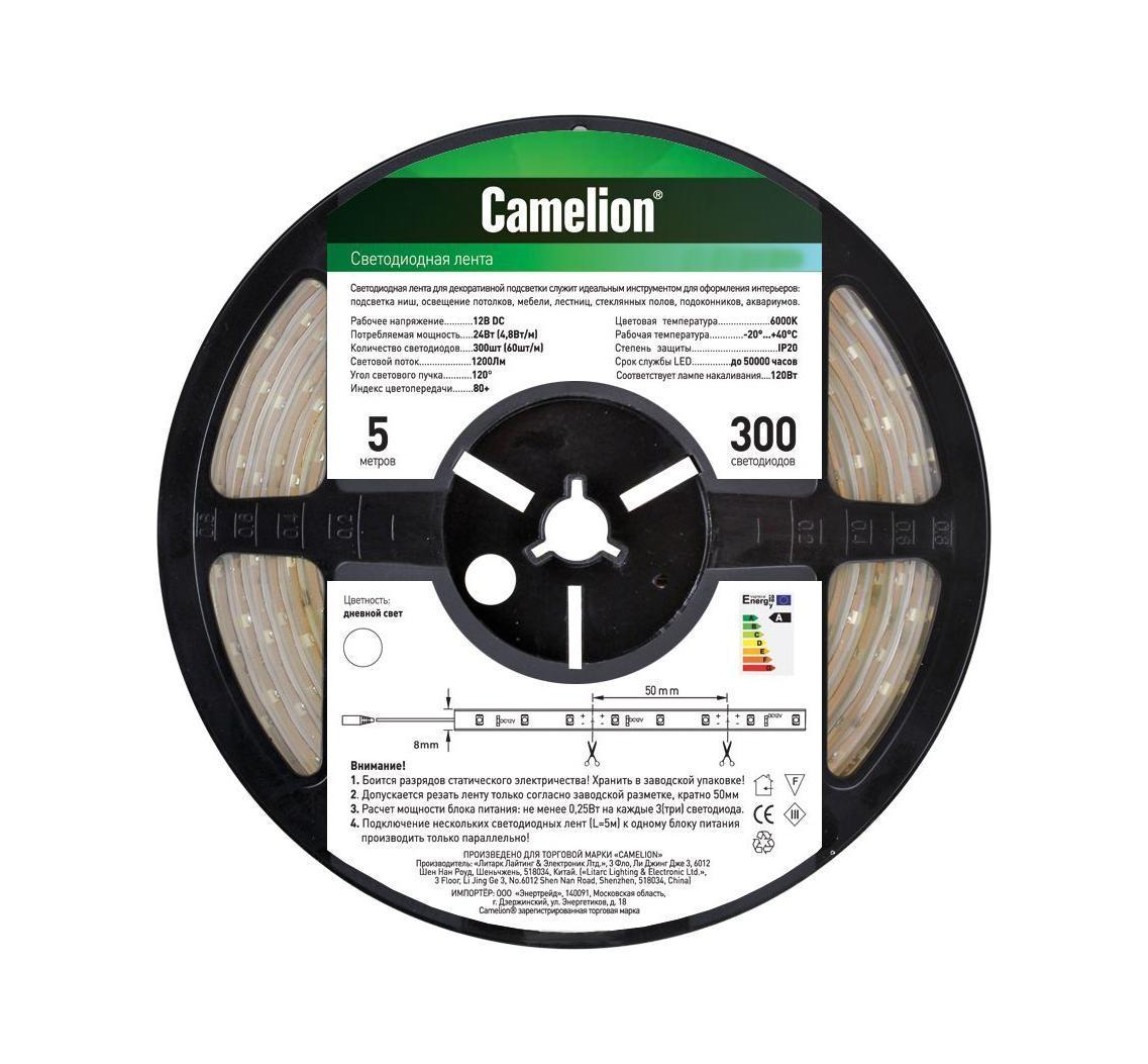 Camelion SLW-5050-30-C01 светодиодная лента, 5 м, теплый белыйSL484 602 06Используются в наружной рекламе, праздничной иллюминации, для создания комфортного домашнего и офисного освещения, интерьерной подсветки потолка и ниш.Напряжение: 12 вольт