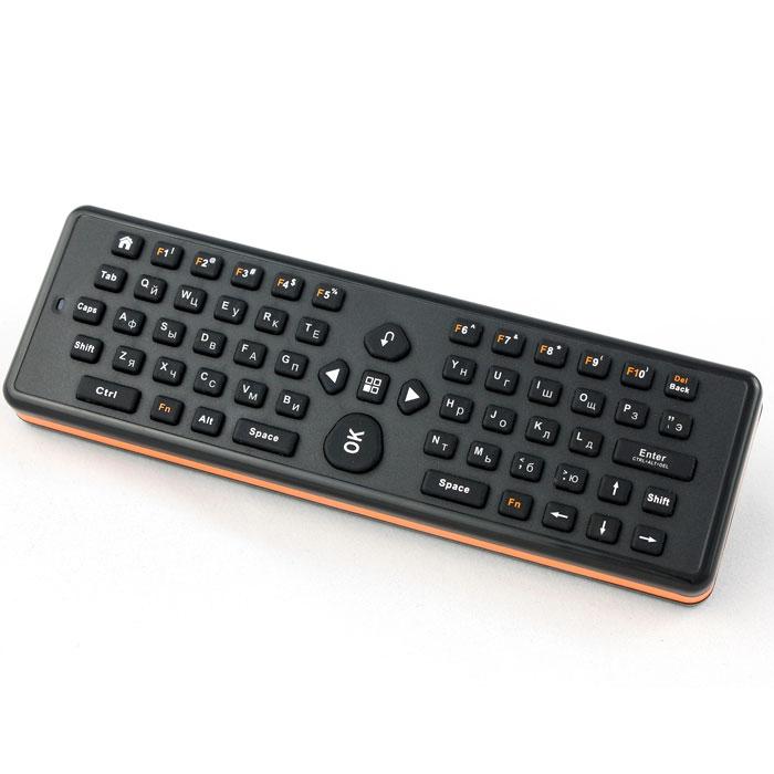 UPVEL UM-511KB беспроводная 3D мышь + QWERTY клавиатураUM-511KBБеспроводная 3D мышь Air Mouse UM-511KB совмещает в себе функции беспроводной мыши и QWERTY-клавиатуры для вашего ANDROID TV BOX, телевизора или компьютера. Перемещение курсора по экрану осуществляется изменением положения устройства в пространстве. Air Mouse одинаково хорошо подходит как для проведения лекций и презентаций, так и для отдыха на диване перед телевизором.