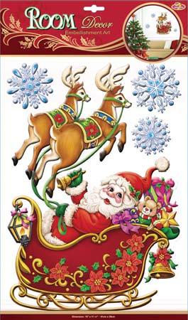 Наклейки для интерьера Room Decoration Дед Мороз в санях, объемные, 41 см х 29 см наклейки для интерьера room decoration кокетка со стразами 50 х 32 см