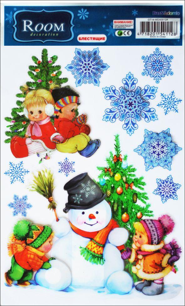 Наклейки для интерьера Room Decoration Снеговик, объемные, 41 х 29 см наклейки для интерьера room decoration кокетка со стразами 50 х 32 см