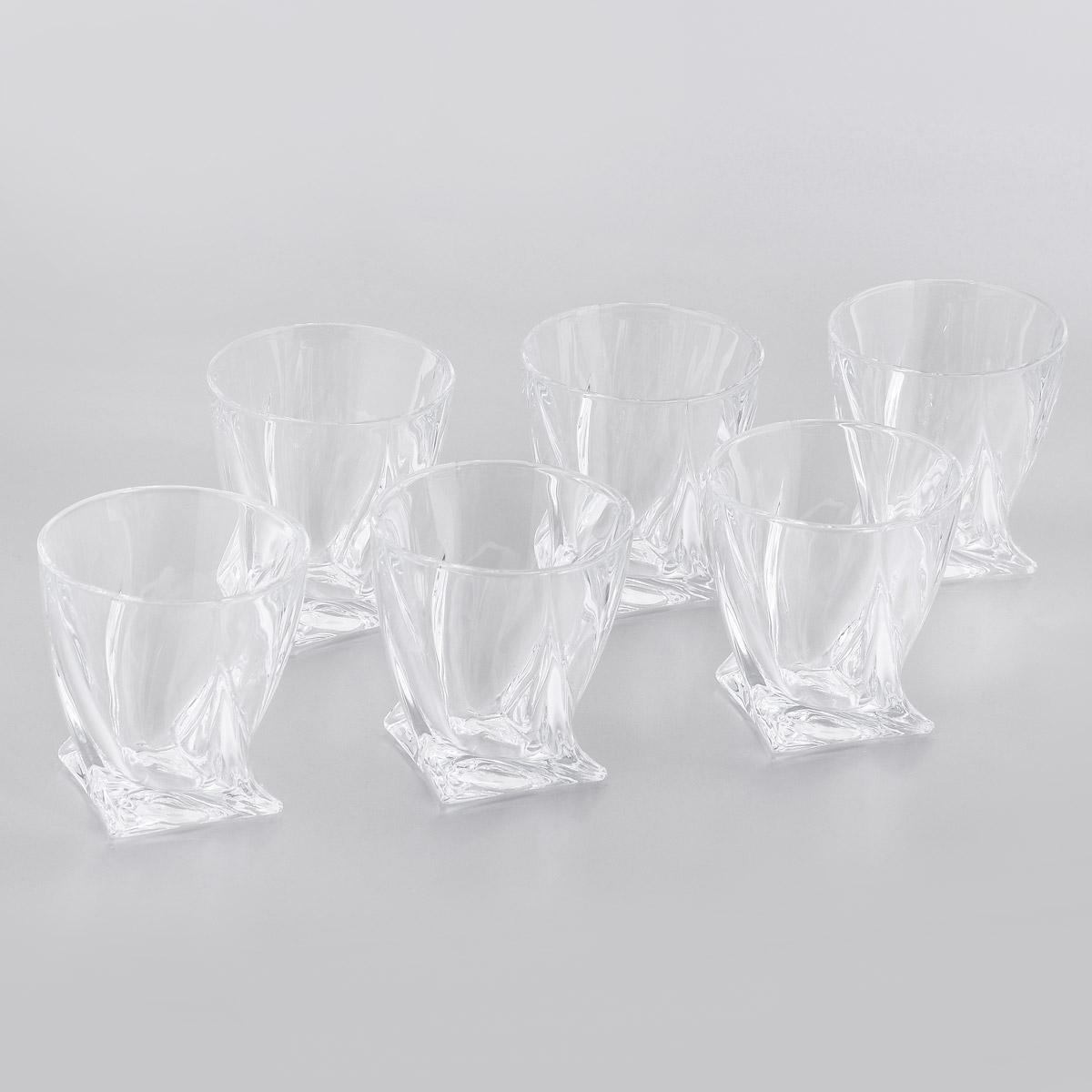 цена на Набор стаканов для виски Crystalite Bohemia Квадро, 340 мл, 6 шт