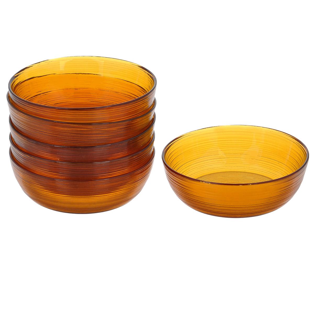 Набор салатников, цвет: коричневый, диаметр 13 см, 6 шт. Кт 1301213012Набор салатников, выполненный из стекла, будет уместен на любой кухне и понравится каждой хозяйке. В набор входят шесть салатников. Внешняя сторона салатника имеет рельефную поверхность. Изделия сочетают в себе изысканный дизайн с максимальной функциональностью. Такой набор салатников придется по вкусу и ценителям классики, и тем, кто предпочитает утонченность и изящность.