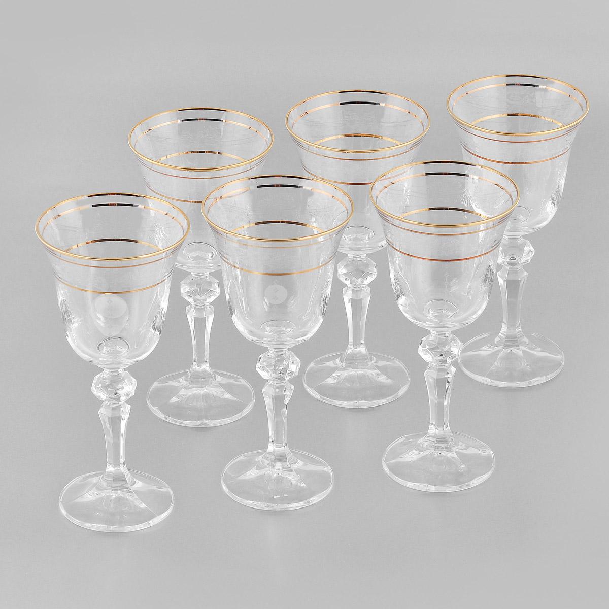 Набор бокалов для вина Crystalite Bohemia Роза, 170 мл, 6 шт. 40707/170/437491K40707/170/437491KНабор Crystalite Bohemia Роза состоит из шести бокалов, выполненных из прочного высококачественного прозрачного стекла. Изделия оснащены рельефными ножками и декорированы золотистой окантовкой и оригинальным орнаментом. Бокалы предназначены для подачи вина. Они излучают приятный блеск и издают мелодичный звон. Бокалы сочетают в себе элегантный дизайн и функциональность. Благодаря такому набору пить напитки будет еще вкуснее.Набор бокалов Crystalite Bohemia Роза прекрасно оформит праздничный стол и создаст приятную атмосферу за романтическим ужином. Такой набор также станет хорошим подарком к любому случаю. Не использовать в посудомоечной машине и микроволновой печи.