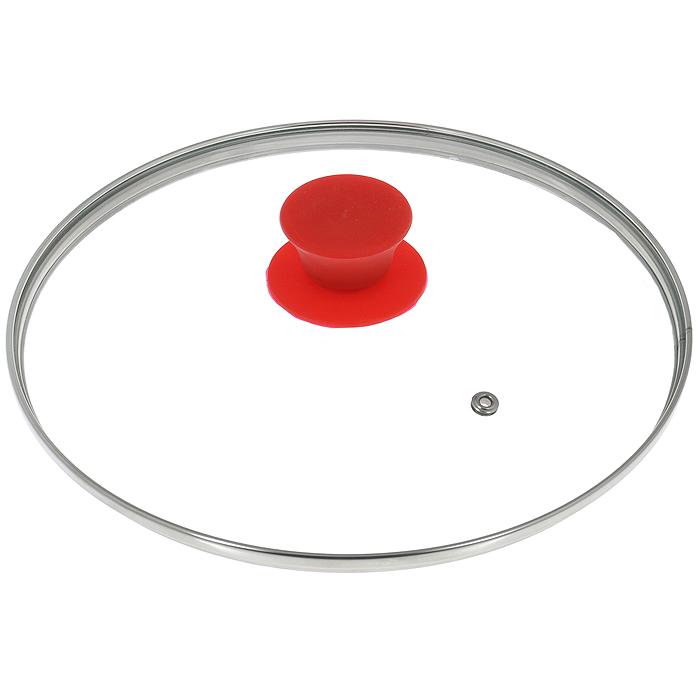 Крышка стеклянная Jarko Silk, цвет: красный. Диаметр 24 см