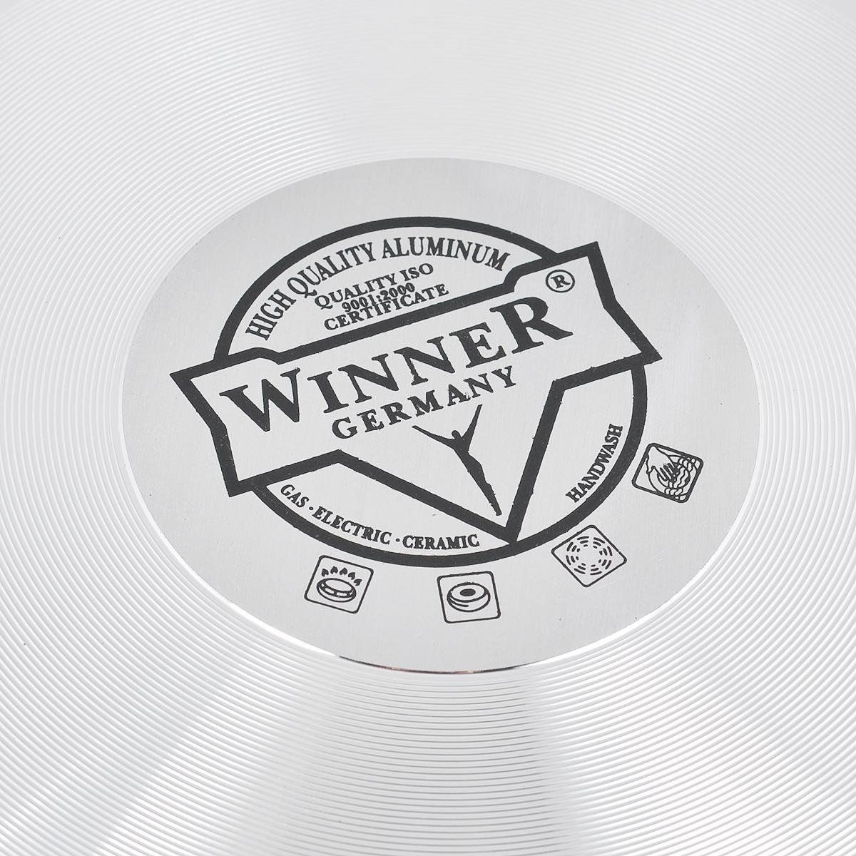"""Сковорода """"Winner"""" изготовлена из алюминия с антипригарным керамическим покрытием с нанокомпонентами Excilon, благодаря которому приобретает уникальные свойства и эксплуатационные характеристики. Нанопокрытие наносится по уникальной технологии напыления. Сковорода приобретает высокую прочность, жаро-, износо-, коррозионную стойкость, химическую инертность. При нагревании до высоких температур не выделяет и не впитывает в себя вредных для человека химических соединений. Нанопокрытие гарантирует быстрый и равномерный нагрев посуды и существенную экономию электроэнергии, данная технология позволяет исключить деформацию корпуса при частом и длительном использовании посуды. Рукоятка специального дизайна, выполненная из бакелита с силиконовым покрытием, удобна и комфортна в эксплуатации. Внешнее цветное покрытие устойчиво к воздействию высоких температур. Можно использовать на всех типах плит, кроме  индукционных."""
