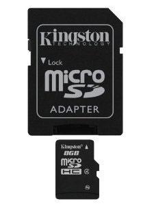 Kingston microSDHC Class 4 8GB карта памяти с адаптеромSDC4/8GBКарты microSDHC позволяют хранить большие объемы музыки, видео, изображений, игр в современных мобильных устройствах. Флэш-карты microSDHC относятся к 4 скоростному классу, т.е. максимальная скорость передачи данных составляет 4 Мб/с.По размерам карты microSDHC совпадают с картами microSD, но совместимы только с устройствами, поддерживающими стандарт microSDHC в соответствии со спецификацией SD Specification Version 2.0. Карты microSDHC можно использовать с адаптером как полноразмерные карты SDHC.Внимание: перед оформлением заказа, убедитесь в поддержке Вашим электронным устройством карт памяти данного объема.