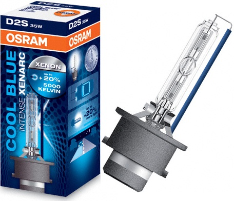 OSRAMлампа ксенон D2S P35d-2 35W XENARC COOL BLUE INTENSE (автолампа, фара ближнего/дальнего света, основная фара),(На 20% больше света, цветовая температура 5500K),  1 шт.  Osram