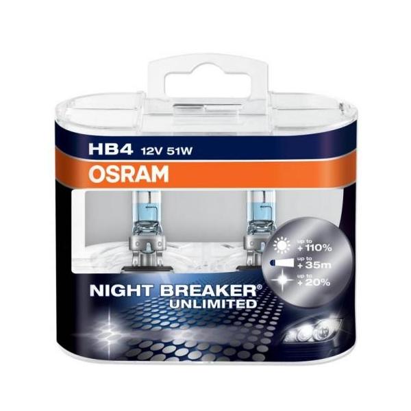 Купить OSRAM лампа галоген HB4 P22d 12V 51W NIGHT BREAKER UNLIMITED, (На 110% больше света на дороге, на 20% белее свет, на 40м длиннее световой конус), фара ближнего/дальнего света; основная фара; противотуманная фара, (пластиковый бокс 2 шт)