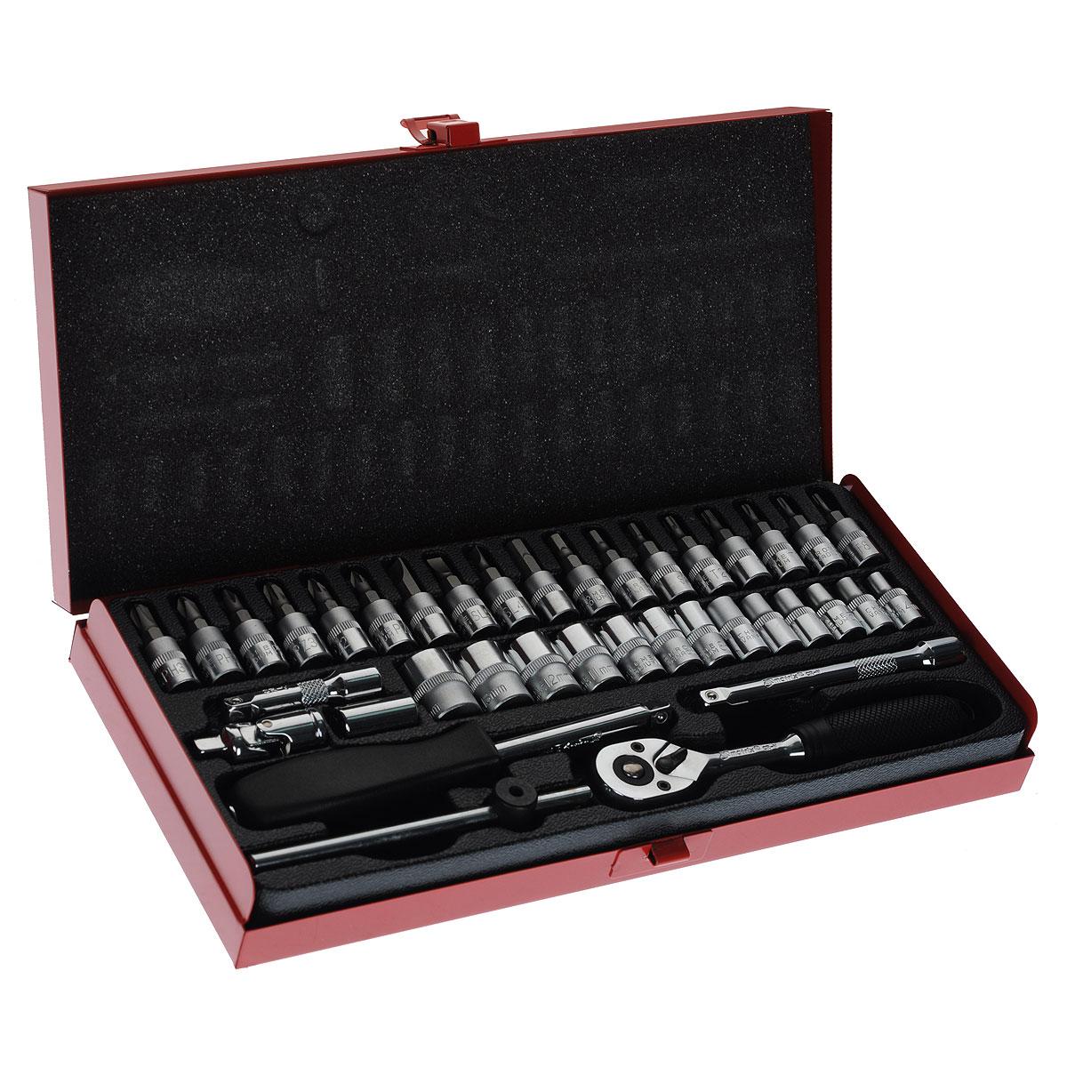 Набор слесарно-монтажный Matrix, 38 предметов13522Набор слесарно-монтажного инструмента Matrix предназначен для работы с резьбовыми соединениями. Инструмент изготовлен из хромованадиевой стали с хромированным покрытием, что обеспечивает высокое качество и долговечность.Состав набора:Биты-вставки: Hex 3 мм, 4 мм, 5 мм, 6 мм, SL4, SL5,5, SL7, PH1, PH2, PH3, PZ1, PZ2, PZ3, T8, T10, T15, T20, T25.Головки торцевые шестигранные 1/4: 4 мм, 4,5 мм, 5 мм, 5,5 мм, 6 мм, 7 мм, 8 мм, 9 мм, 10 мм, 11 мм, 12 мм, 13 мм, 14 мм.Карданный шарнир 1/4.Вороток отверточного типа 1/4.Вороток T-образный 1/4.Удлинитель 1/4 50 мм.Удлинитель 1/4 100 мм.Ключ трещоточный (45 зубьев) с эргономичной пластиковой ручкой, реверсом и механизмом разблокировки шарикового фиксатора.Битодержатель 1/4.