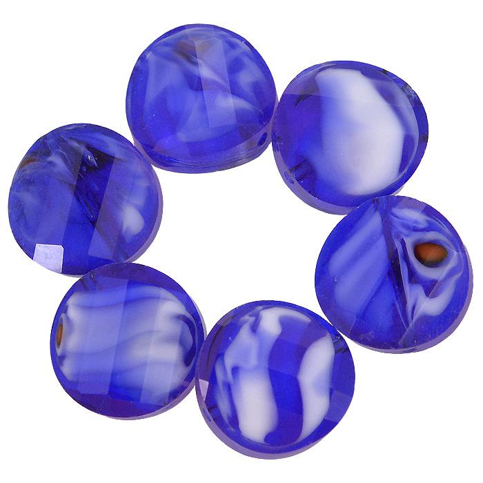 """Бусины """"Астра"""", цвет: синий (5), диаметр 14 мм, 6 шт. 7702767_5"""