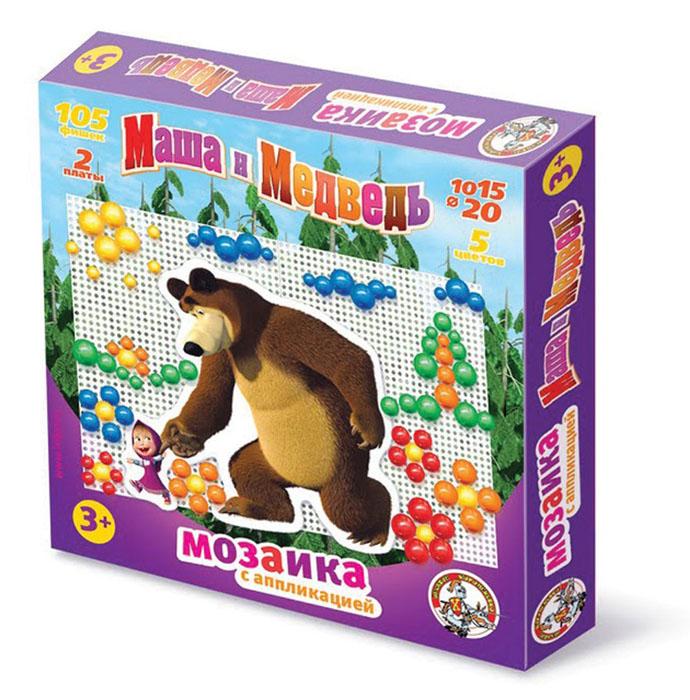Мозаика Маша и Медведь, с аппликациями, 105 элементов мозаика kukumba мозаика маша и медведь
