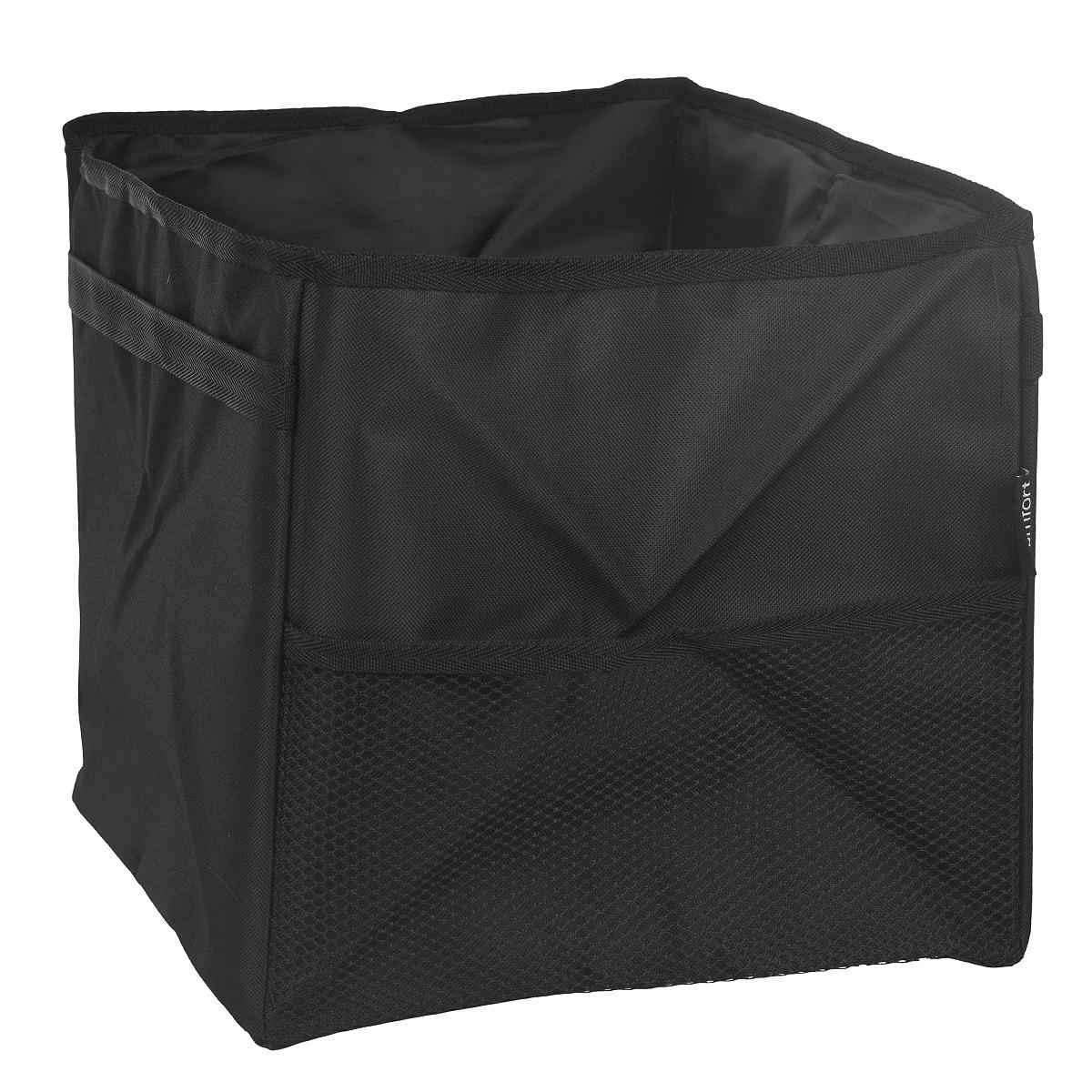 Органайзер в багажник Comfort Address, складной, 29 см х 35 см х 32 смbag 060Органайзер в багажник Comfort Address выполнен из крепкой непромокаемой ткани. Содержит одно большое отделение, размеры которого позволят вместить все, что разложено по углам багажника. Спереди содержится сетчатый карман на резинке. На дне пришиты липучки, препятствующие передвижению органайзера по багажнику. Удобная крышка на молнии спрячет все, что лежит внутри; при необходимости ее можно убрать в сумку. Органайзер складной; в сложенном виде, когда он не нужен, занимает минимум места.