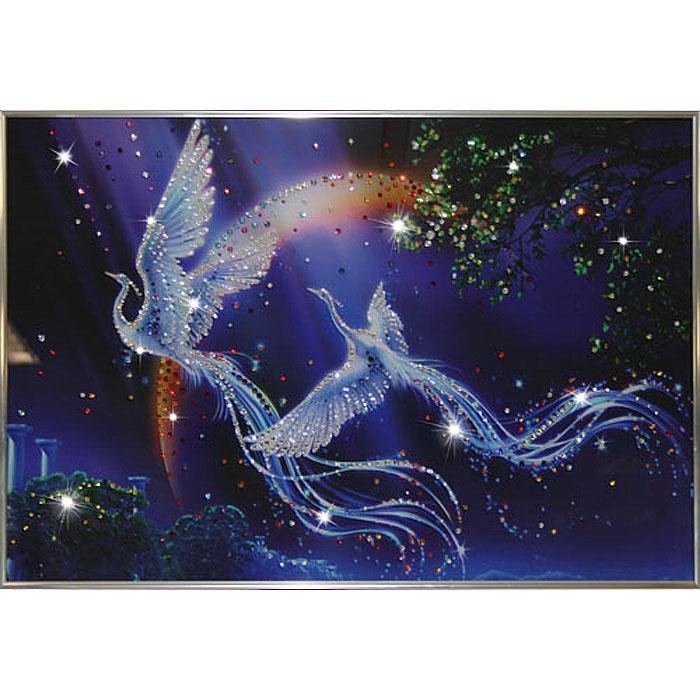 Картина с кристаллами Swarovski Райские птицы, 60 см х 40 см1254Изящная картина в металлической раме, инкрустирована кристаллами Swarovski, которые отличаются четкой и ровной огранкой, ярким блеском и чистотой цвета. Красочное изображение райских птиц, расположенное под стеклом, прекрасно дополняет блеск кристаллов. С обратной стороны имеется металлическая петелька для размещения картины на стене.Картина с кристаллами Swarovski Райские птицы элегантно украсит интерьер дома или офиса, а также станет прекрасным подарком, который обязательно понравится получателю. Блеск кристаллов в интерьере, что может быть сказочнее и удивительнее.