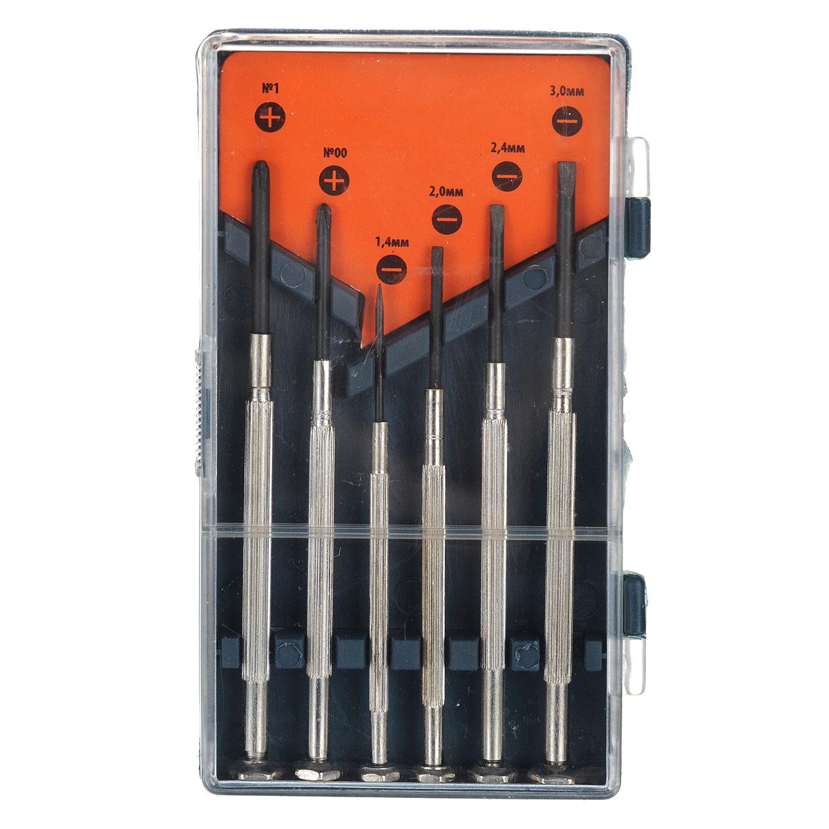 Набор отверток для точной механики Sparta, 6 шт133445Набор отверток Sparta предназначен для ремонта и обслуживания портативных электронных приборов и техники. Отвертки изготовлены из высококачественной стали.Состав набора:Отвертки плоские: 1,4 мм, 2 мм, 2,4 мм, 3 мм.Отвертки крестовые: PH00, PH1.Пластиковый футляр для переноски и хранения.