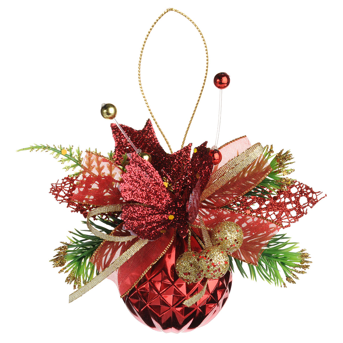 Новогоднее подвесное украшение Sima-land Шар, цвет: красный, диаметр 6 см. 705779705779Новогоднее подвесное украшение Sima-land Шар прекрасно подойдет для праздничного декора новогодней ели. Шар выполнен из пластика, украшен рельефом и композицией из ленточек, пластиковых веточек, листочков и бабочки. Для удобного размещения на елке для игрушки предусмотрена текстильная веревочка.Елочная игрушка - символ Нового года. Она несет в себе волшебство и красоту праздника. Создайте в своем доме атмосферу веселья и радости, украшая новогоднюю елку нарядными игрушками, которые будут из года в год накапливать теплоту воспоминаний. Коллекция декоративных украшений принесет в ваш дом ни с чем не сравнимое ощущение волшебства! Откройте для себя удивительный мир сказок и грез. Почувствуйте волшебные минуты ожидания праздника, создайте новогоднее настроение вашим дорогим и близким.