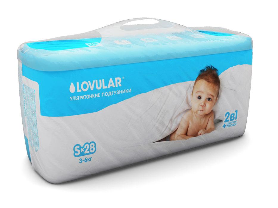 Фото Lovular Подгузники детские, S, 3-6 кг, 28 шт