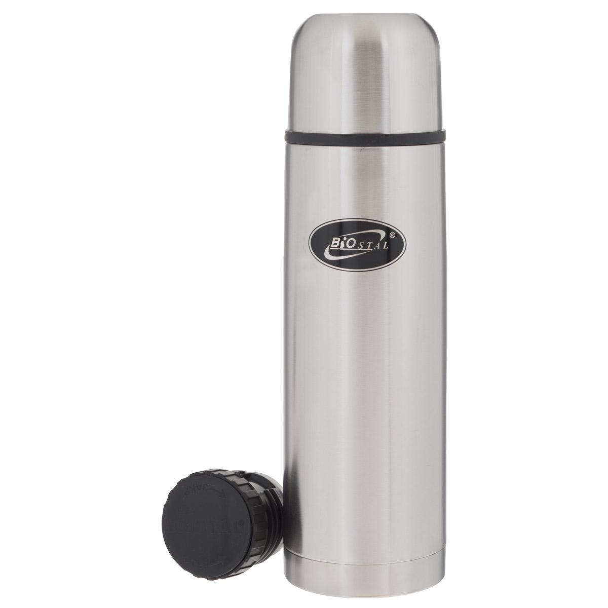 """Термос с узким горлом """"BIOSTAL"""", изготовленный из высококачественной нержавеющей стали, относится к классической серии. Термосы этой серии, являющейся лидером продаж, просты в использовании, экономичны и многофункциональны. Термос предназначен для хранения горячих и холодных напитков (чая, кофе) и укомплектован двумя пробками: пробка без кнопки надежна, проста в использовании и позволяет дольше сохранять тепло благодаря дополнительной теплоизоляции, пробка с кнопкой удобна в использовании и позволяет, не отвинчивая ее, наливать напитки после простого нажатия. Изделие также оснащено крышкой-чашкой. Легкий и прочный термос """"BIOSTAL"""" сохранит ваши напитки горячими или холодными надолго."""