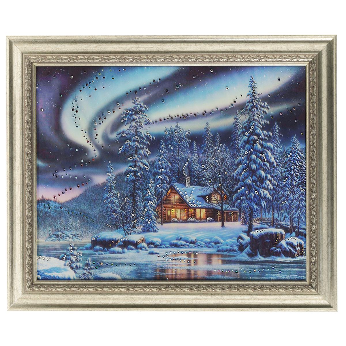Картина с кристаллами Swarovski Северное сияние, 60 см х 50 см картины в квартиру картина etude 2 102х130 см