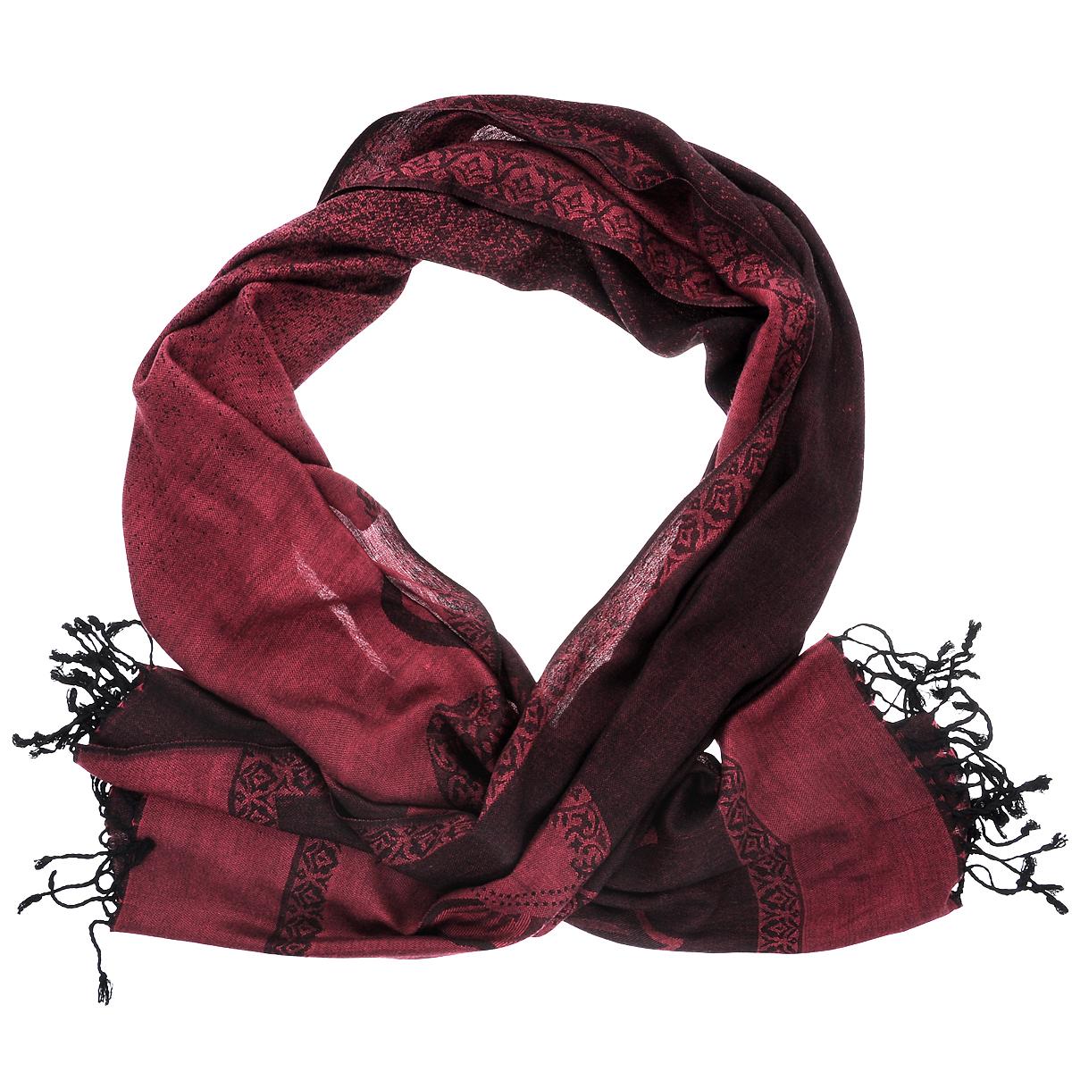Купить Палантин Ethnica, цвет: бордовый, черный. 083150н. Размер 70 см х 180 см