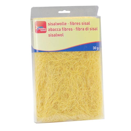 Сизаль Hobby Time, цвет: желтый (67), 30 г7705267Сизаль Hobby Time является необыкновенным аксессуаром для флористики и упаковки подарков. Это тонкие, прочные волокна, которые изготовляют из листьев агавы. Сизаль окрашивается в различные цвета и затем из его волокон плетут декоративные веревки, украшают металлические каркасы для букетов, используют его в изготовлении корзин. В подарочной упаковке сизаль удачно используют в изготовлении оригинального оберточного материала. Также сизаль используют как наполнитель в коробках. Во многих флористических композициях сизаль создает легкое облако над букетом, придавая воздушность и свежесть цветам. В рождественских декорациях сизаль подчеркивает зимнее настроение коллекций. Такой материал можно комбинировать с различными аксессуарами, как с природными - веточки, шишки, скорлупа, кора, перья так и с искусственными - стразы, бисер, бусины. Уникальная токая структура волокон позволят создавать новые формы. Вес: 30 г.
