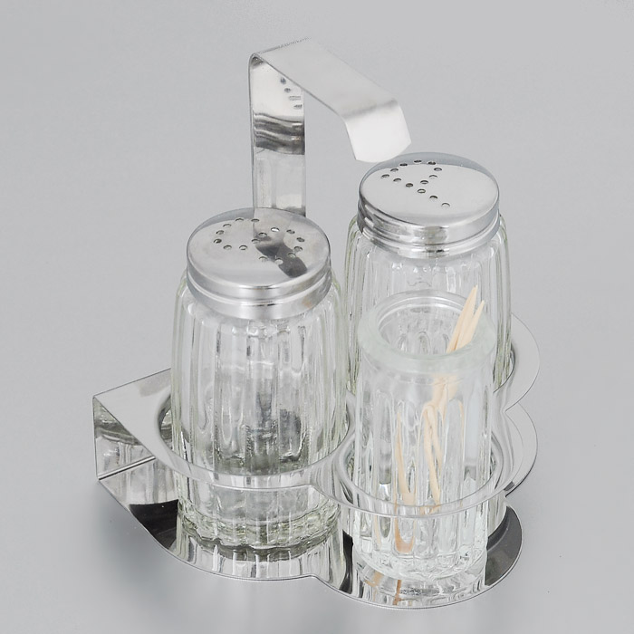 """Набор """"Fackelmann"""" состоит из двух диспенсеров для соли и перца, емкости для зубочисток и подставки. Диспенсеры и емкость для зубочисток выполнены из стекла с граненой поверхностью. Диспенсеры оснащены крышками из нержавеющей стали. Их легко заполнить, достаточно открутить крышку и насыпать внутрь соль или перец. Подставка выполнена из нержавеющей стали.  Набор для соли и перца """"Fackelmann"""" изысканно украсит кухонный стол и станет незаменимым аксессуаром на вашей кухне. Можно мыть в посудомоечной машине.Высота диспенсера: 7 см. Высота емкости для зубочисток: 6 см. Размер подставки: 10 см х 8 см х 10 см."""