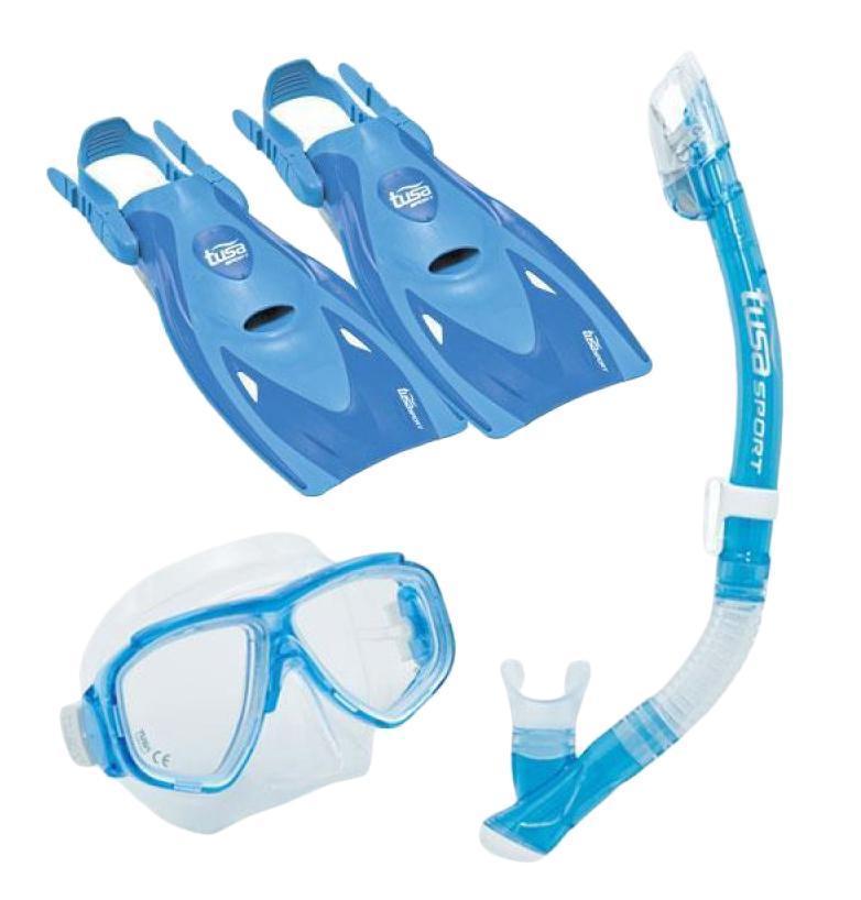 Комплект для плавания детский Tusa Sport (маска+трубка+ласты) TS UPR2221B BL, цвет: голубой, синий, размер S (32-39)1394609Комплект для путешествийMini-Kleio с сухой трубкойвключает однолинзовую маску с увеличенным полем зрения, регулируемым ремешком с пряжками, линзами из закаленного стекла ClearVu, ремешком и обтюратором из гипоаллергенного силикона. Трубка оснащена сухим верхним клапаном с запатентованной технологией TUSA Hyperdry Elite, защищающим трубку от попадания воды, дренажной камерой и стравливающим клапаном для легкой очистки трубки от воды, а гофрированный сегмент и загубник выполнены из прозрачного гипоаллергенного силикона.Ласты усовершенствованного дизайна имеют укороченную лопасть Мульти-флекс с технологией гидродинамических каналов для максимальной эффективности гребка и удобную калошу из мягкого, но прочного материала. Открытая пятка позволяет легко и быстро подгонять ласты по размеру, а прочный силиконовый ремешок обеспечивает комфорт. Эта модель ласт, несмотря на компактный размер, обеспечивает большую мощность гребка. Ласты имеют небольшой вес и идеально подходят для путешествий. Комплект поставляется со специальной сумочкой для перевозки.Подходит для детей 6-12 лет. Характеристики:Материал: пластик, силикон, стекло, резина. Размер маски: 15 см x 10 см. Размер ласт: S (32-39). Размеры ласт(ДхШ): 34 см х 16 см. Общая длина трубки: 36 см. Размер упаковки: 49 см x 25 см x 11 см. Производитель: Тайвань. Артикул:TS UPR2221B BL.