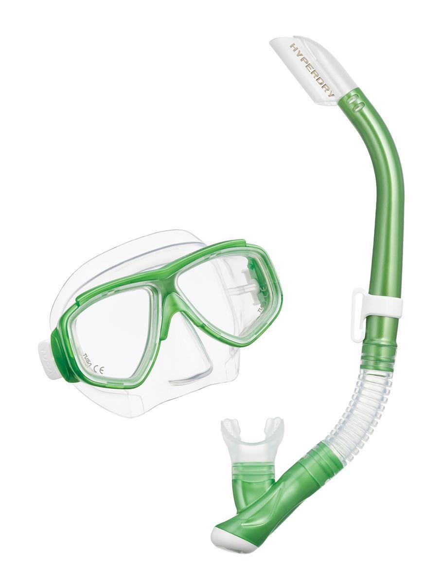 Комплект для подводного плавания TUSA Sport TS UCR7519 SG, (маска+трубка), цвет: зеленыйTS UCR7519 SGКомплект UCR7519 Splendive состоит из маски и трубки. Двухлинзовая маска с маленьким подмасочным объемом, увеличенным полем зрения, регулируемым ремешком с пряжками, линзами из закаленного стекла ClearVu, ремешком и обтюратором из гипоаллергенного силикона.Хорошо садится на узкие и средние лица. Возможность установки диоптрийных линз (приобретаются отдельно).Трубка оснащена запатентованной технологией TUSA Hyperdry, защищающей трубку от попадания воды, дренажной камерой и стравливающим клапаном для легкой очистки трубки от воды, а гофрированный сегмент и загубник выполнены из прозрачного гипоаллергенного силикона. Комплект UCR7519 станет прекрасным дополнением к ластам UF-14Z или UF-21. Характеристики:Материал: пластик, силикон, стекло. Размер маски: 17,5 см x 11 см. Общая длина трубки: 46 см. Размер упаковки: 49 см x 24 см x 11 см. Производитель: Тайвань. Артикул:TS UCR7519 SG.