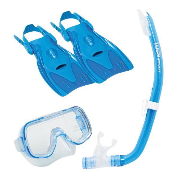 Комплект детский для плавания Tusa Sport UPR-2414 BL: (маска+трубка+ласты), цвет: голубой, размер S (32-39)
