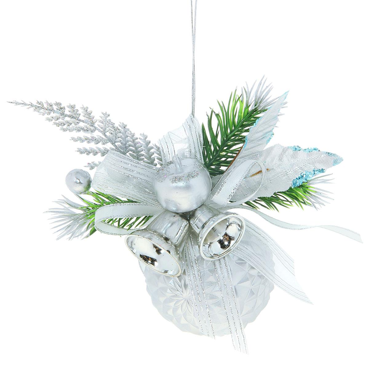 Новогодний декорированный шар Ажурный колокольчик, цвет: серебристый, диаметр 6 см. 705774 миниатюра колокольчик цвет серебристый 6 см