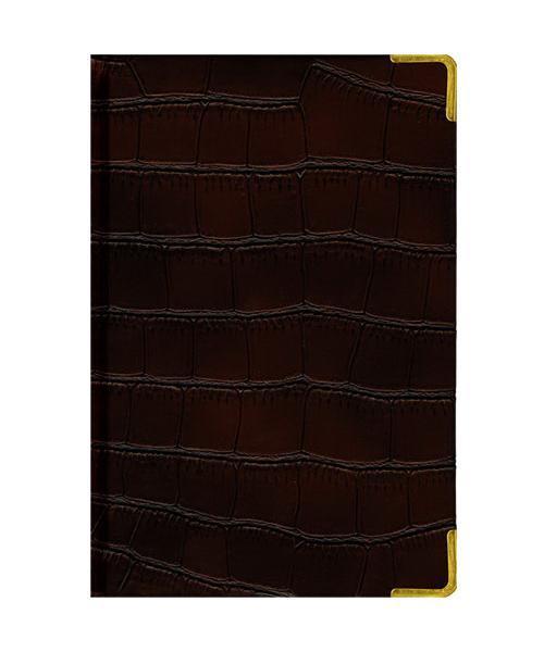 Ежедневник А5 Недатированный Impact (темно-коричневый) 152л. (BUSINESS PRESTIGE) Искусственная кожа с поролономЕКП51415209В линейке бизнес-ежедневников представлены датированные, полудатированные и недатированные внутренние блоки на офсетной бумаге плотностью 70гр.м. Коллекция прекрасно подходит в качестве подарка. Обложка обладаетвозможностью термотиснения. Внутренний блок прошит, что гарантирует отсутствие потери листов при активном использовании. Цветные форзацы подчеркивают высокий статус ежедневника. Металлические скругленные углы защищают эту серию продукции при активном использовании. Особый шарм и статус ежедневникам придает разнообразие отделок поверхностей. Исследование с фокус-группами показало, что качество текстур неотличимо от оригинальных поверхностей. Доступный статус - кредо коллекции Business Prestige! Виды отделки: Ancient (гладкая и мягкая кожа), Iguana, Skin, Gold, Nappa, Croco, Grand croco, Impact. Разметка: . Бумага: . Формат: А5. Пол: Унисекс. Особенности: металлические уголки, цветной торец (золото), ляссе 2 шт., бумага тонированная.