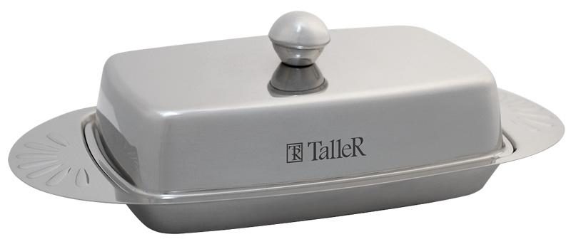 Масленка Taller Edolie, 250 гTR-1214Масленка Taller Edolie идеально подходит для хранения масла и сервировки стола. Масленка выполнена из нержавеющей стали с внешней зеркальной полировкой и состоит из подноса и крышки с ручкой. Благодаря специальным выемкам крышка плотно устанавливается на поднос.Современный изысканный дизайн создаст безупречный стиль для вашей кухни. Масло в такой масленке долго остается свежим, а при хранении в холодильнике не впитывает посторонние запахи. Можно мыть в посудомоечной машине.