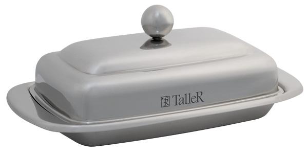 Масленка Taller Holly, 250 гTR-1216Масленка Taller Holly идеально подходит для хранения масла и сервировки стола. Масленка выполнена из нержавеющей стали с внешней зеркальной полировкой и состоит из подноса и крышки с ручкой. Благодаря специальным выемкам крышка плотно устанавливается на поднос.Современный изысканный дизайн создаст безупречный стиль для вашей кухни. Масло в такой масленке долго остается свежим, а при хранении в холодильнике не впитывает посторонние запахи. Можно мыть в посудомоечной машине.