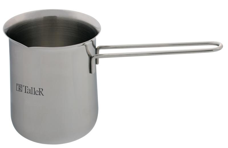 Турка Taller Judit, 500 млTR-1330Турка Джудит,8х9.8 см (0.5 л) Толщина стенки - 0,7 мм. Полировка внешняя - зеркальная, внутренняя - матовая. Ручка из нержавеющей стали на сварке. Рекомендации: подходит для всех типов плит (кроме индукционной).