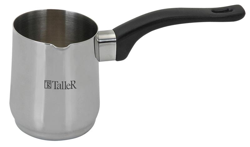 Турка Taller Jenna, 400 млTR-1331Турка Дженна 7.x9.0 см (0,4 л)Высококачественная нержавеющая сталь 18/10. Ненагревающаяся бакелитовая ручка. Толщина стенок 0.8 мм, Внешнняя полировка - зеркальная, внутренняя - матовая .Подходит для всех типов плит (кроме индукционных плит). Пригодна для мойки в посудомоечной машине.