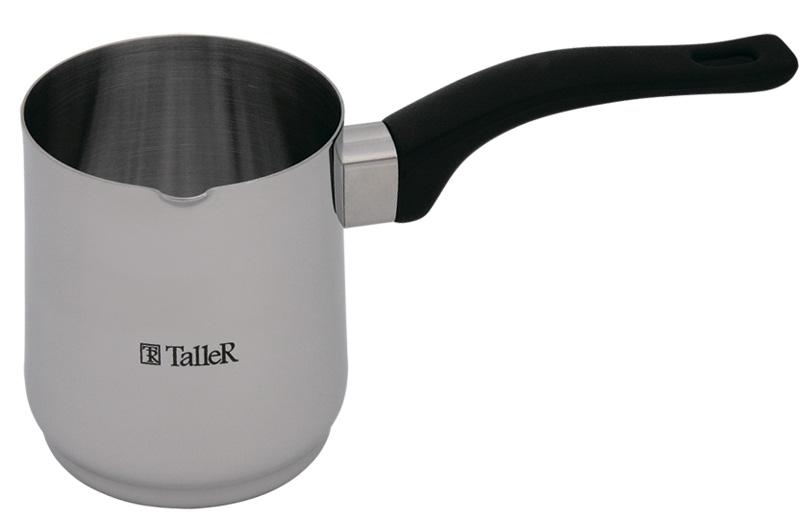 """Турка """"Дженна"""",  8х10.0 см (0.6 л)  Толщина стенки - 0,8 мм. Полировка внешняя - зеркальная, внутренняя - матовая. Бакелитовая ручка.  Рекомендации: подходит для всех типов плит (кроме индукционной)."""